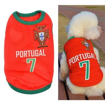 CREYONS New Fashion Summer Cute Dog Pet Vest Puppy T Shirt World Cup Football doggy cloth clot