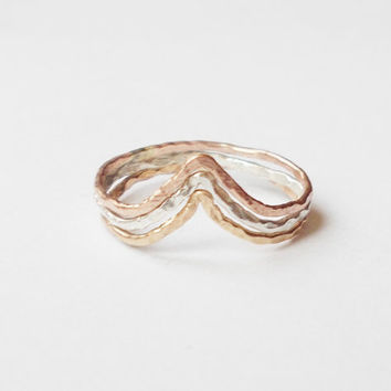 Tri Color Chevron Stacking Rings - Sterling Silver, Rose Gold Filled, and Gold Filled -  Three Tone Rings - Set of 3
