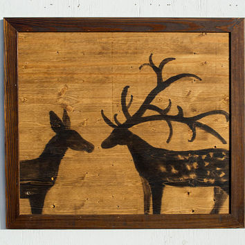 Deer Art - Deer Painting - Antlers - Deer Silhouette - Home Decor - Reclaimed Wood Art - Deer On Wood - Stained Wood - Large Painting