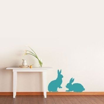 Easter bunnies wall decal sticker set