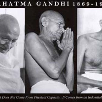 Mahatma Gandhi Indomitable Will Quote Poster 24x36