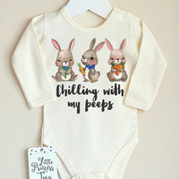 Easter Baby Bodysuit. First Easter Baby Bodysuit. Cute Bunny Baby Outfit. My First Easter. Easter Baby Outfit. Chilling With My Peeps