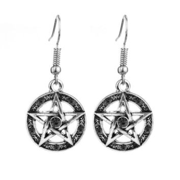 feimeng jewelry Supernatural Pentagram Earrings Vintage Pentacle Red Black Crystal Dangle Earrings For Women Fashion Accessories