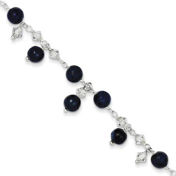 925 Sterling Silver Midnight Blue Beaded Dangle Ankle Bracelet