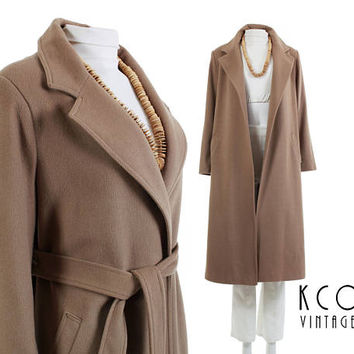 "Pure Cashmere Coat Long Wool Coat Camel Coat NORDSTROM Made in W. Germany Winter Jacket Minimal 80s Vintage Clothing Women Size M/L 44"" Bust"
