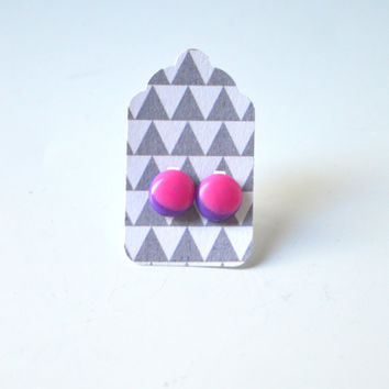 Stud Earrings - Pink and Purple Stud Earrings - Tiny Stud Earrings - Post Earrings - Colorful Earrings - Handmade Enamel Jewelry Studs