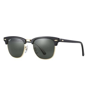 Ray Ban Clubmaster RB3016 W0365 Sunglasses Black Green Classic G-15 Lens 49mm
