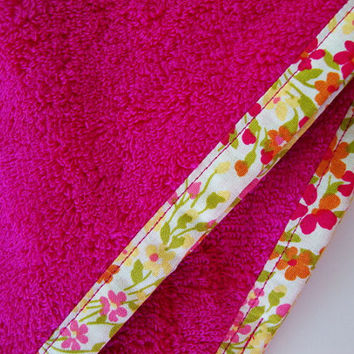 HOT PINK Hair Towel with Floral Fabric Trim - Head Towel - Turban Towel - Head Wrap - Hair Wrap - 100% Cotton Towel - Floral Hair Towel