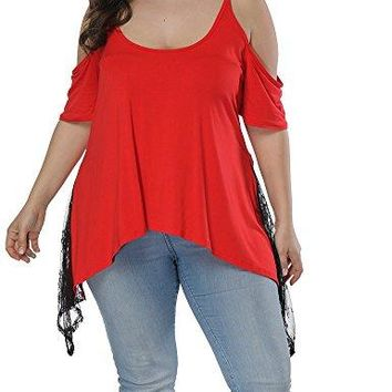 Allegrace Women Plus Size Strap Lace Hem Tops Cold Shoulder Summer T Shirt