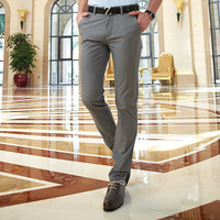 Mens Chino Pants Full Length Cotton Summer Casual Pants Men Khaki Black Straight Dress Pants