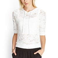 FOREVER 21 Floral Lace Hooded Top Cream