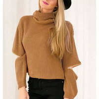 Brown Turtle Neck Cut-Sleeve Knitted Sweater