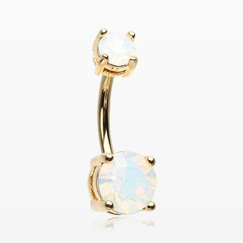 Golden Opalite Sparkle Prong Set Belly Button Ring