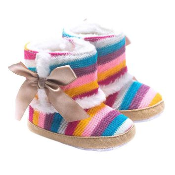 Colorful Rainbow Design Winner Baby Shoes Girl Soft Sole Snow Boots Soft Crib Shoes Toddler Boots For 0-18Months