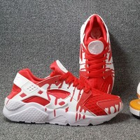 """NIKE""AIR Huarache Running Sport Casual Shoes Sneakers Red G-CSXY"
