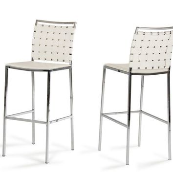 Modrest Shasta Modern White Eco-Leather Bar Stool (Set of 2)