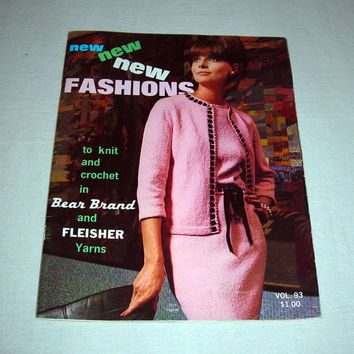 Vintage 1965 Knit and Crochet Fashions Pattern Book, Midcentury Fashion, Mad Men Style, Vintage Knitting Patterns, Free US Shipping
