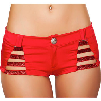 Red Button Front Metallic Strappy Shorts