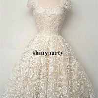 Custom Made Ivory Cap Sleeves Short Lace Prom Dresses, Wedding Dresses