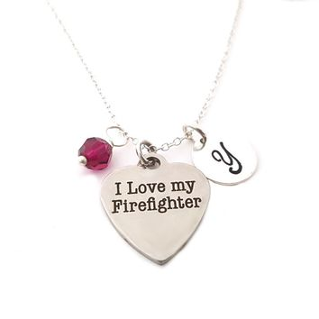 I Love My Firefighter - Personalized Sterling Silver Necklace