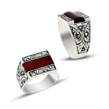 Filigree red amber gemstone 925k sterling silver mens ring unique turkish jewelry handcrafted