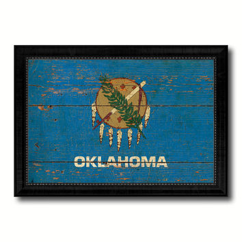 Oklahoma State Vintage Flag Canvas Print with Black Picture Frame Home Decor Man Cave Wall Art Collectible Decoration Artwork Gifts