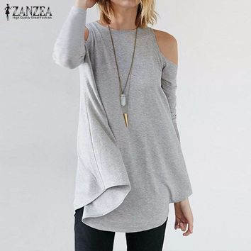 ZANZEA Autumn Women Tops 2018 Blusas Femininas Sexy Tunic Off Shoulder Long Sleeve Pullover Casual Loose Fashion Blouses Shirts