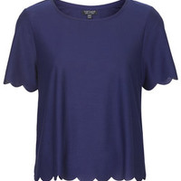 Scallop Frill Tee - Navy Blue