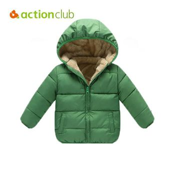 Actionclub Winter Thickening Children Clothing Cotton Hooded Baby Girls Boys Winter Outwear Pure Color Coat Kids Winter Clothing
