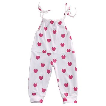 Baby Girl Infant Toddler Tie straps Jumper w/Hearts