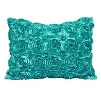 Wake Up Frankie - The Bouquet Standard Sham - Aqua : Teen Bedding, Pink Bedding, Dorm Bedding, Teen Comforters