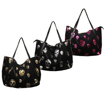Printed Skulls Leather Tote Bag-Color Gold