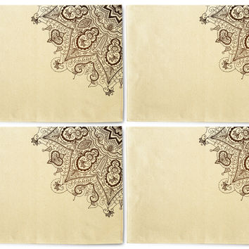 Vintage Abstract Background Printed Canvas Placemats Set of 4