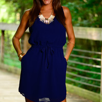 Braided Back Dress, Navy