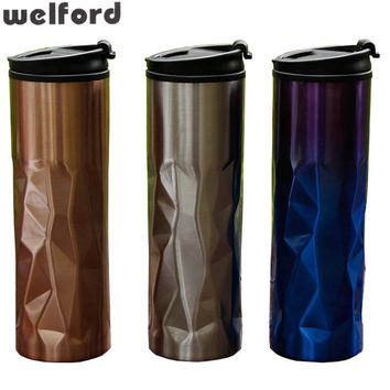 Hot Sale Double Wall Stainless Steel Coffee  Cups Mugs Thermal Bottle 450 ml Thermocup Fashion Car Tumbler Vacuum Flask