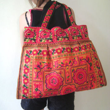 Hmong Bag Ethnic Old Vintage Style Tote Thai Shoulder Bag From Embroidered Fabric
