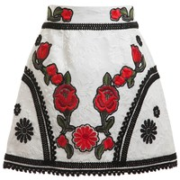 White Jacquard 'Macrame Lace' Skirt