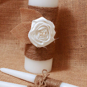 Rustic Unity Candle, Burlap and Lace Unity Candle, Rustic Wedding Decor, Unity Candle Set, Jute wrapped Unity Candle