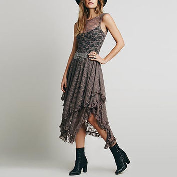 Brown Lace Asymmetrical Ruffled Hemline Maxi Dress