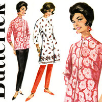 1960s Separates Pattern Bust 34 Butterick 2507 Nehru Collar Kurtis Tunic Kimono Coat and Slim Cigarette Pants Womens Vintage Sewing Patterns