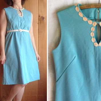 Vintage dress | 1960s Cinderalla blue mod A line shift dress with daisy applique