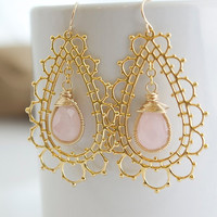 Rose Quartz Earrings Bezel Set Stone Earrings Gold by Jewels2Luv