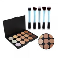 15 Colors Makeup Camouflage Concealer Palette + 5pcs Pretty Waist Style Cosmetic Makeup Brush Set
