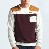 Pocket and Quilted Crew Neck Sweater