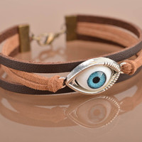 Handmade leather bracelet against the evil eye unisex designer accessory