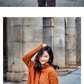 MY MALL METRO  Womens Irregular Turtleneck Pullover Knitwear Sweater  Check Homepage for Promo Codes! <