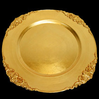 Gold Charger Plate with Medieval Trim (13 Inch) on sale from PaperLanternStore.com!