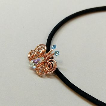 Copper Wire Coiled Crystal Butterfly Necklace