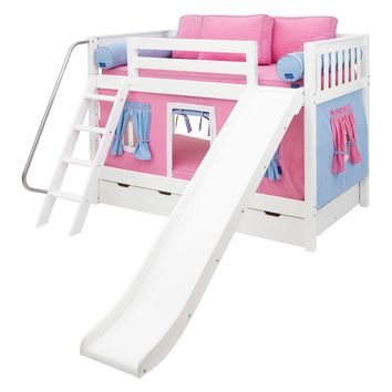 Laugh Girl Twin over Twin Slat Slide Tent Bunk Bed | www.hayneedle.com