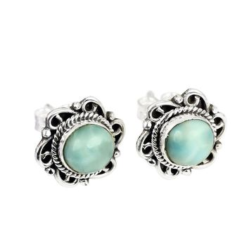 Sterling Silver Larimar Post Earrings